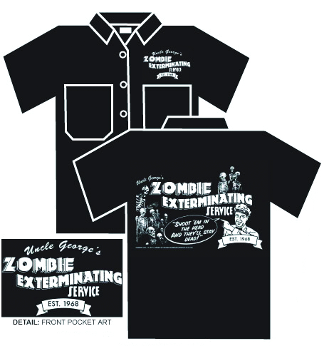 ZOMBIE EXTERMINATING SERVICE WORK SHIRT MED