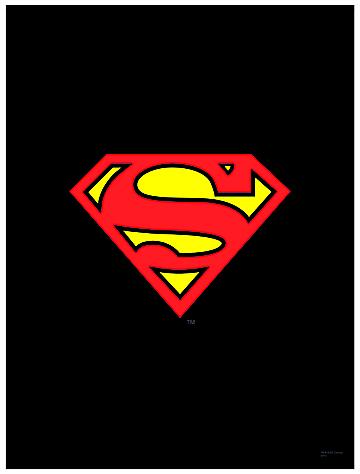 feb101595 dc heroes superman logo black wall scroll previews world