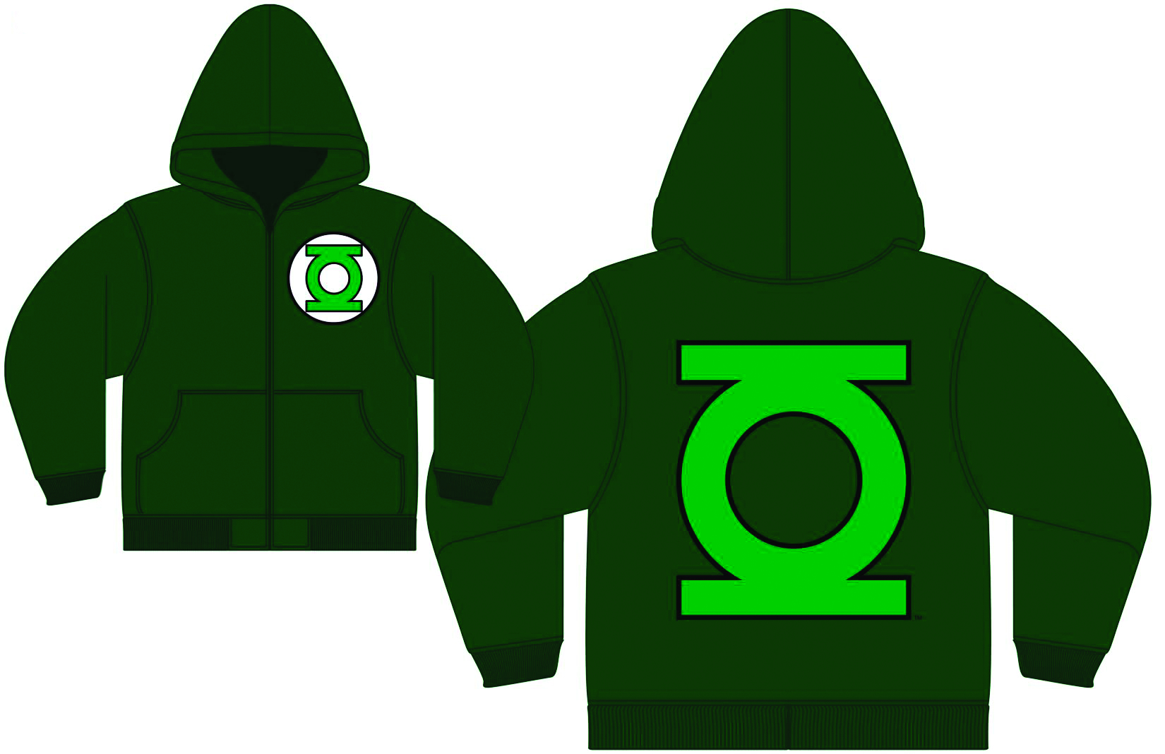 GREEN LANTERN LOGO GREEN PX ZIP-UP HOODIE XL