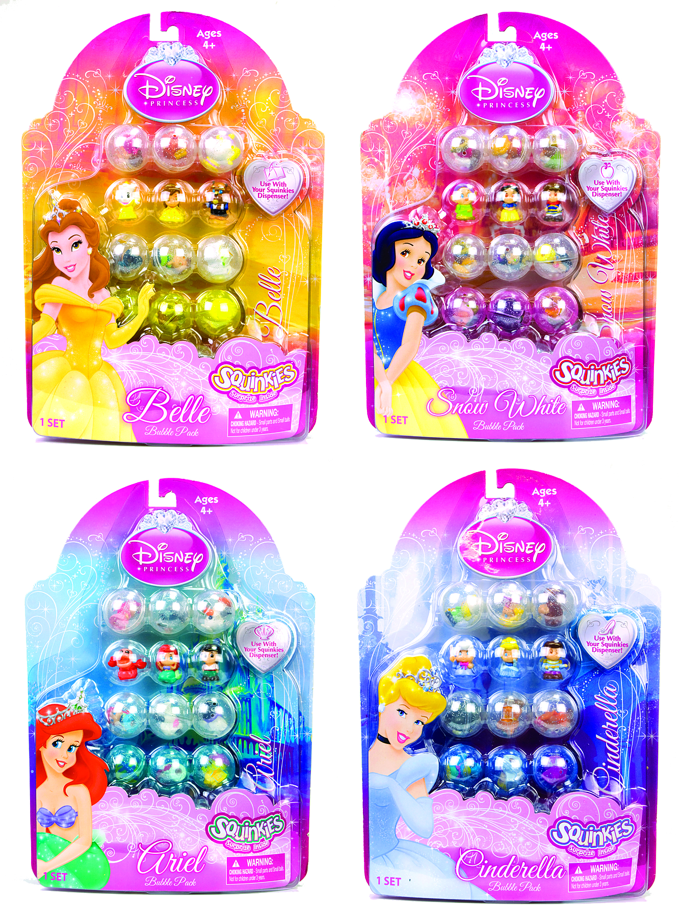 SQUINKIES DISNEY PRINCESS 12-PC BUBBLE PK ASST