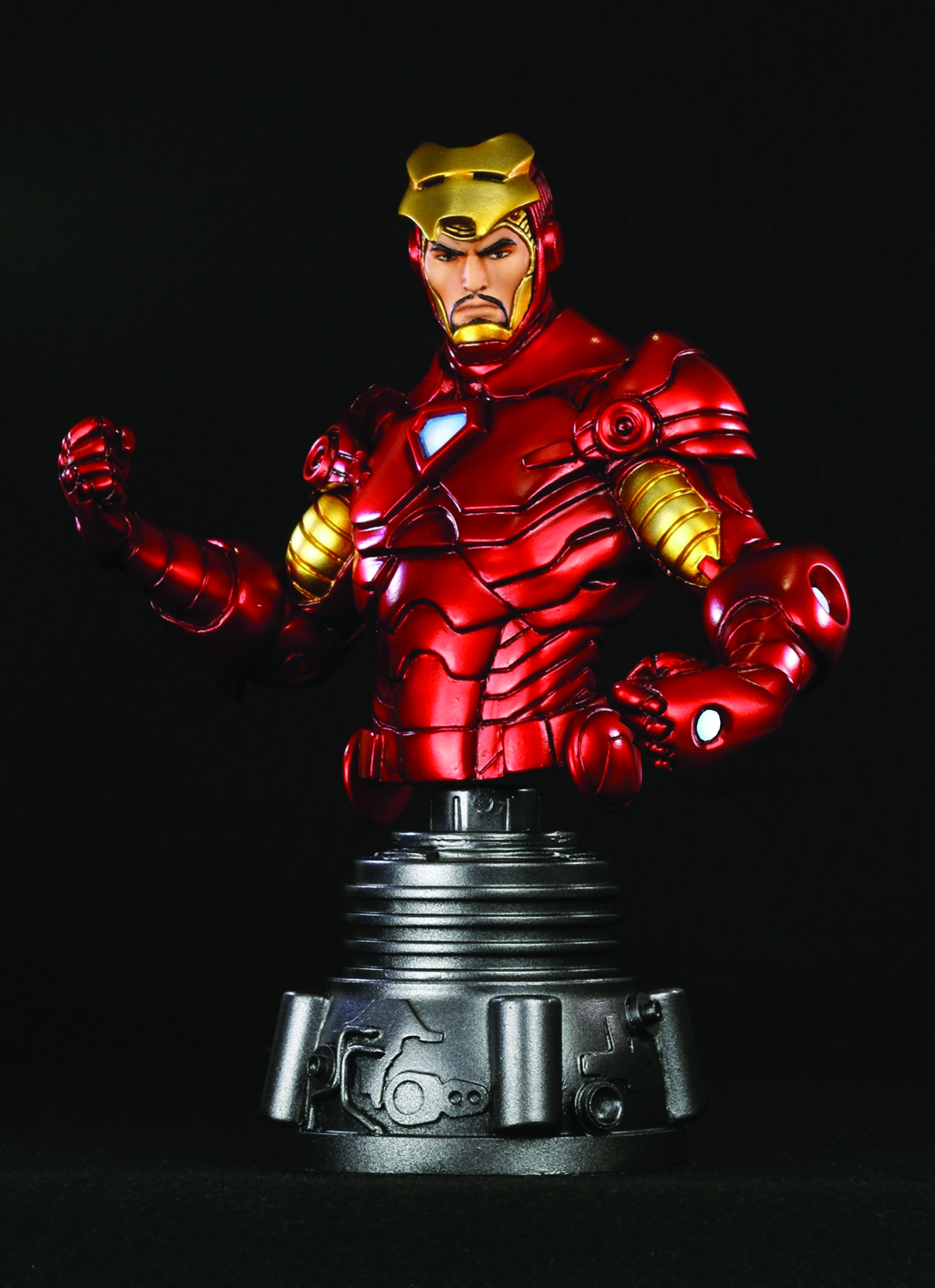 Jul111884 iron man unmasked mini bust previews world - Mini iron man ...