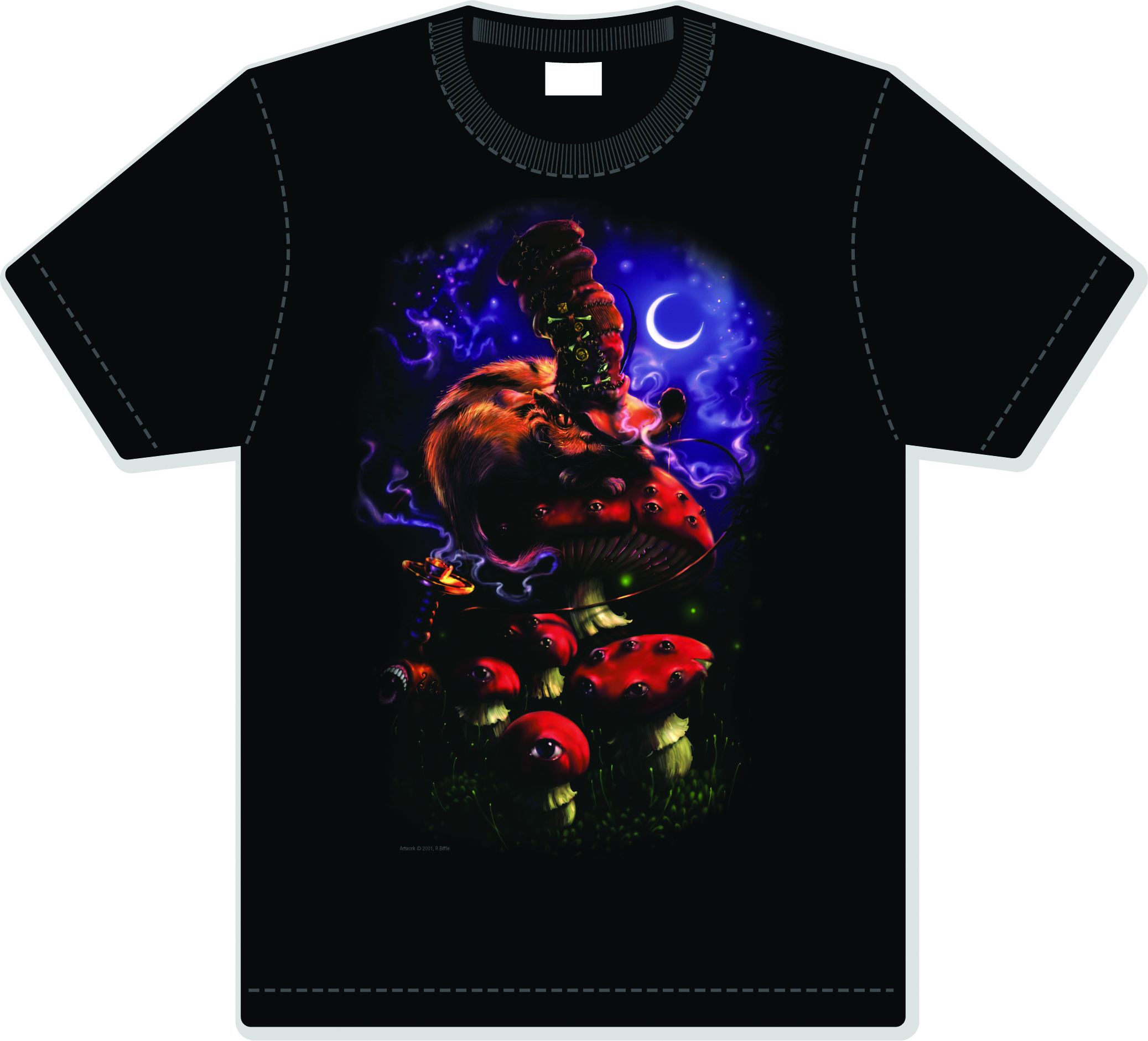 DOWN THE RABBIT HOLE CHESHIRE MOON BLACK T/S XXL