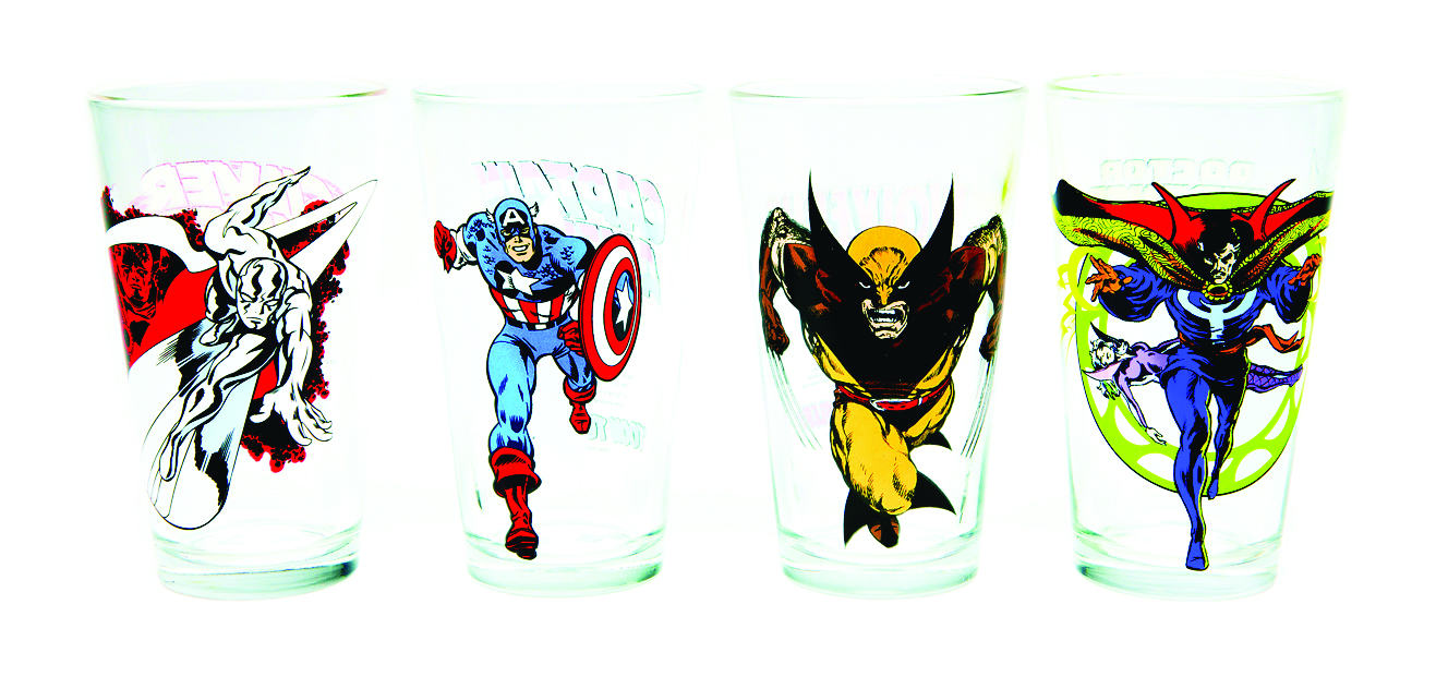 TOON TUMBLERS SILVER SURFER CLEAR PINT GLASS