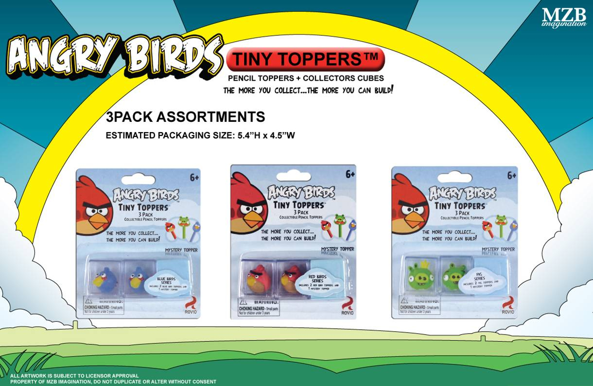 ANGRY BIRDS 3-PK TINY TOPPER 12-PC ASST