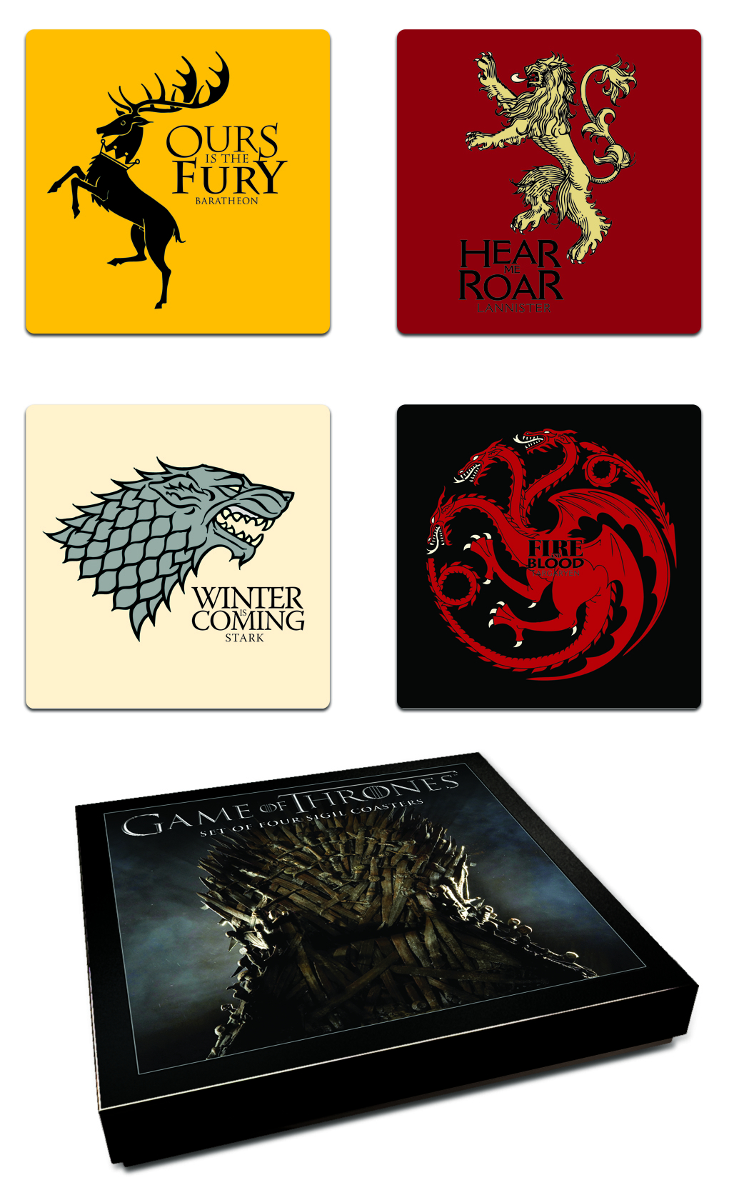 GAME OF THRONES COASTER SET HOUSE SIGIL