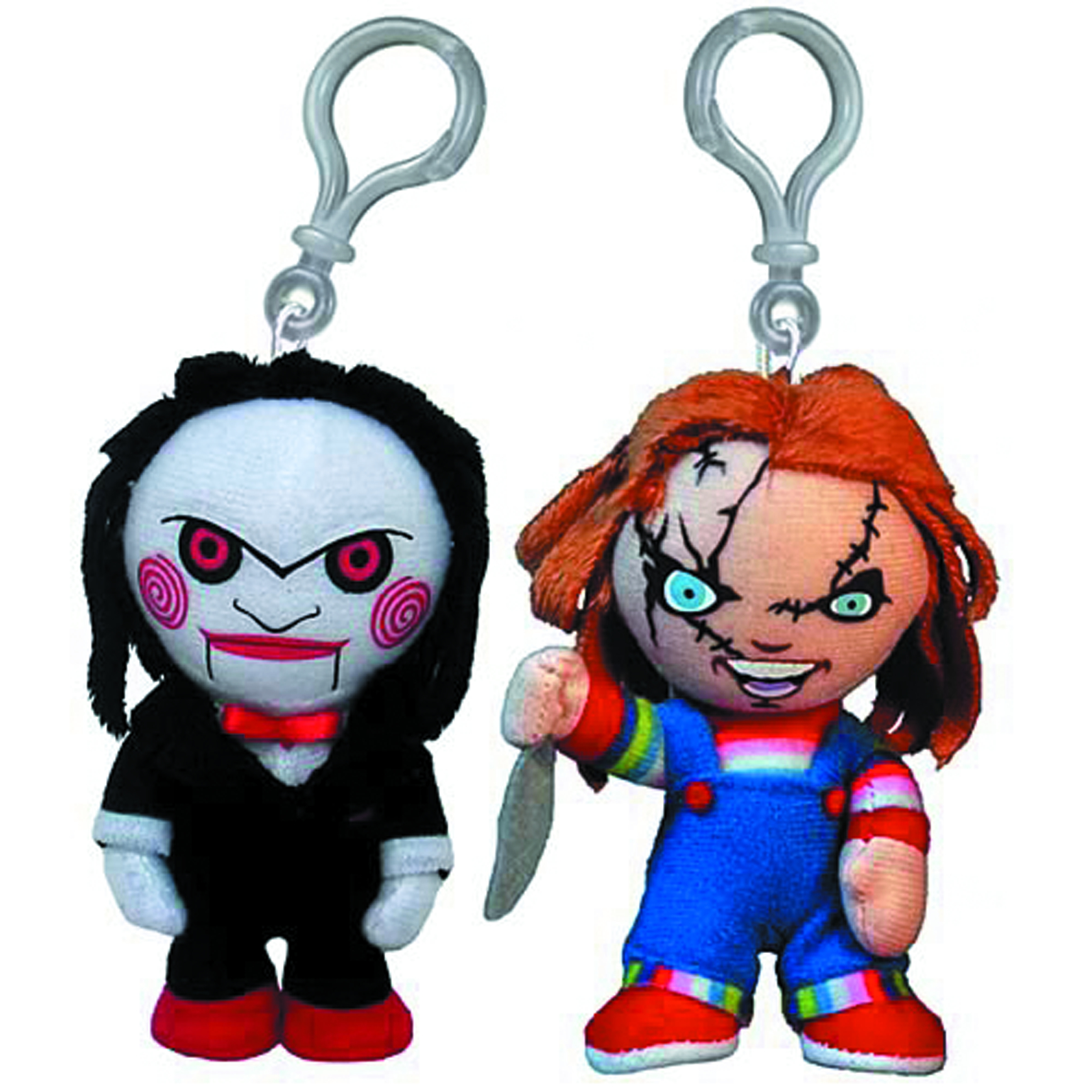 CHUCKY & SAW 4-IN PLUSH CLIP-ON 24-PC ASST