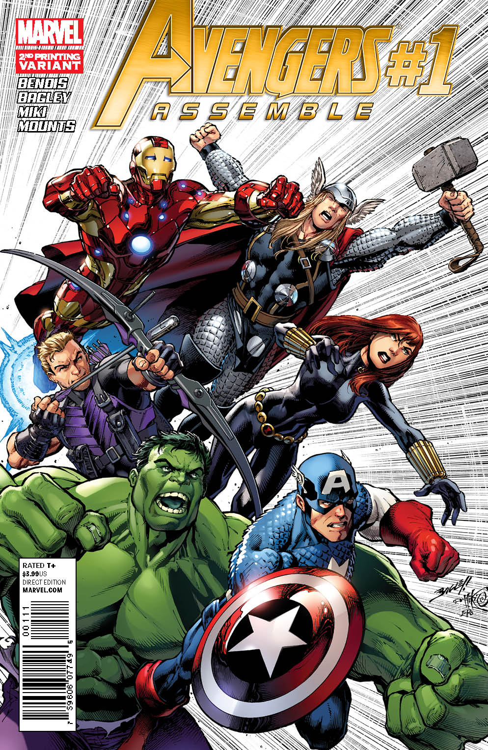 AVENGERS ASSEMBLE #1 2ND PTG BAGLEY VAR WITH DIG CDE
