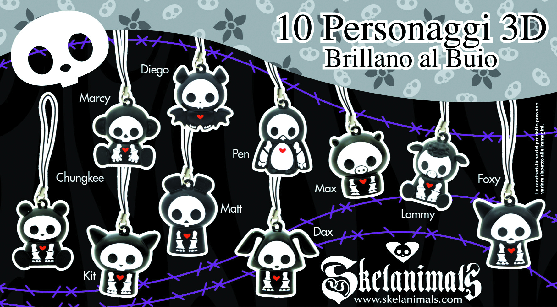 SKELEANIMALS 3D PHONE STRAP 100PC ASST
