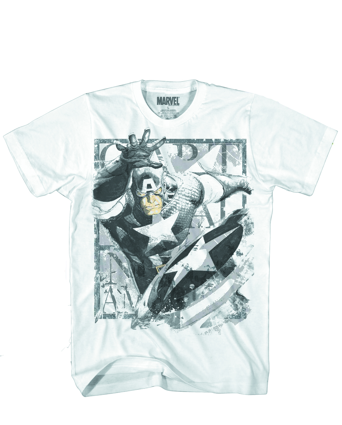CAPTAIN AMERICA THROWING STAR WHITE T/S XL