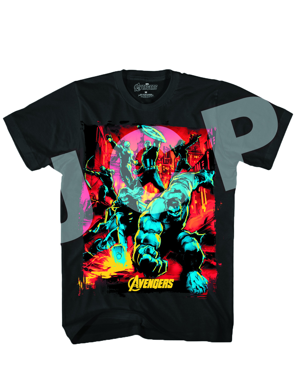 AVENGERS STREETS ON FIRE BLACK T/S MED