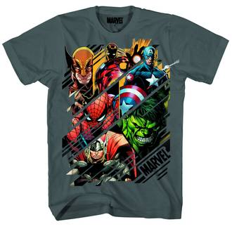 MARVEL HEROES SLICES CHARCOAL PX T/S MED
