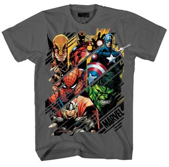 MARVEL HEROES SLICES CHARCOAL PX T/S LG