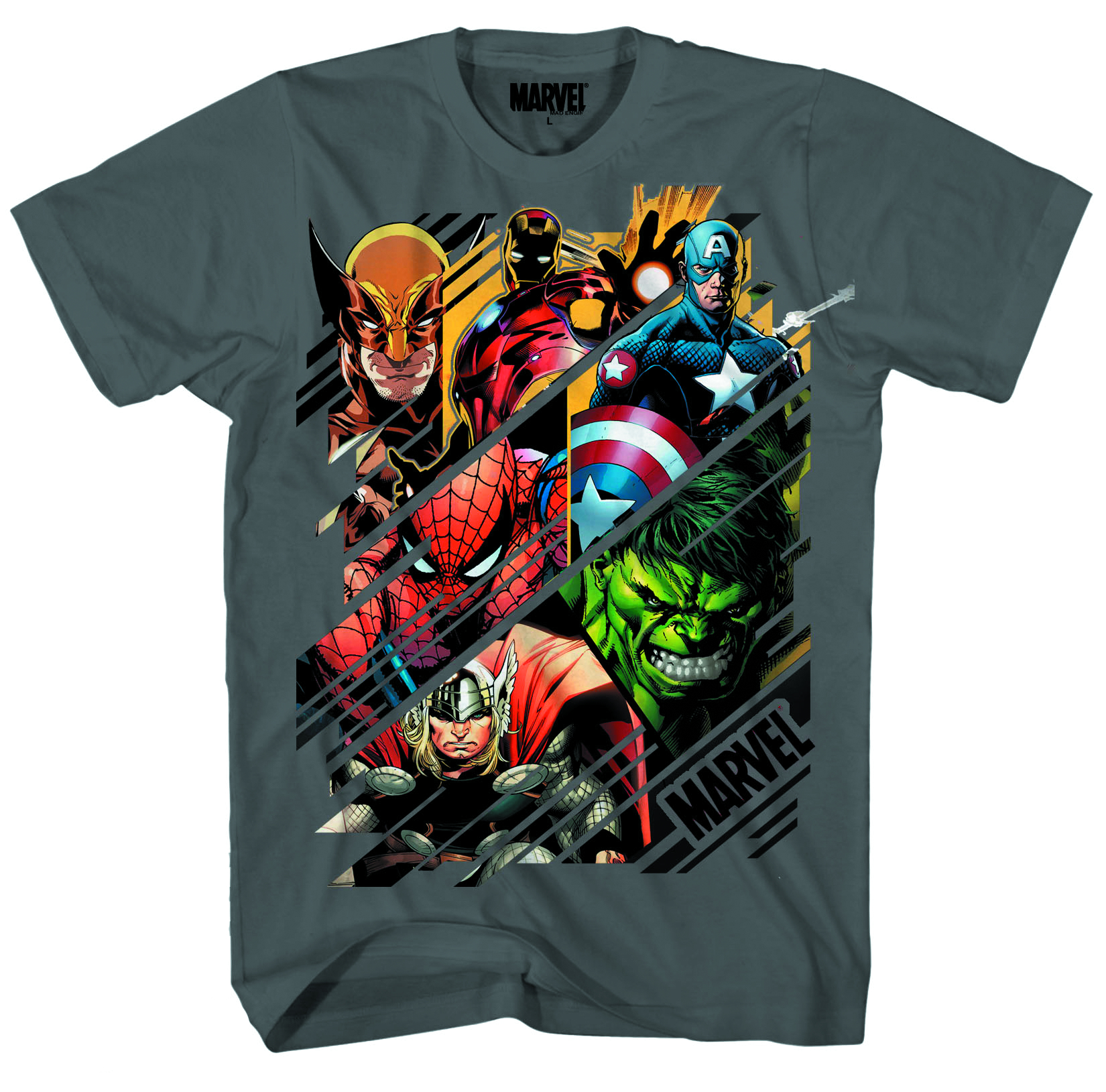 MARVEL HEROES SLICES CHARCOAL PX T/S XXL
