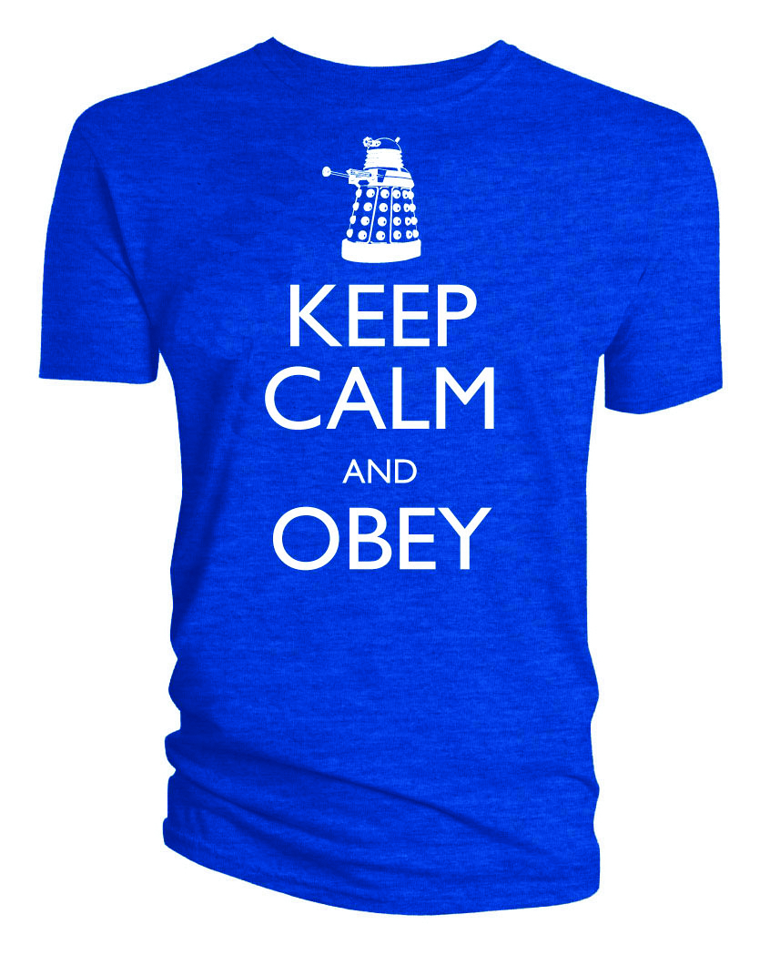 DOCTOR WHO KEEP CALM AND OBEY BLUE T/S LG