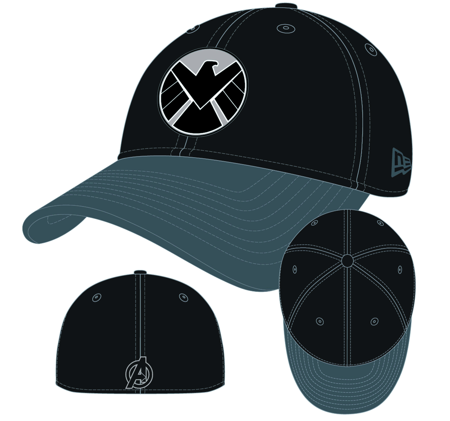 AVENGERS SHIELD LOGO DYAD FLEX FIT CAP M/L