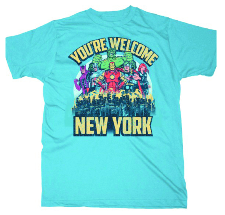 AVENGERS YOURE WELCOME NEW YORK LIGHT BLUE T/S MED