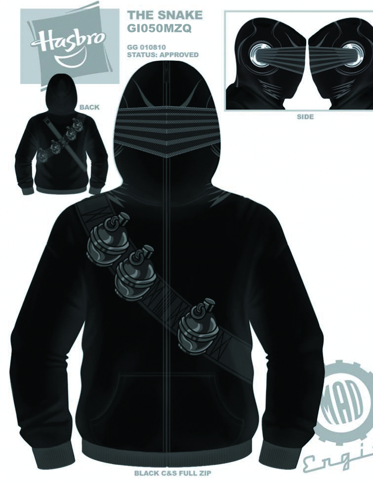 GI JOE SNAKE EYES COSTUME HOODIE XL