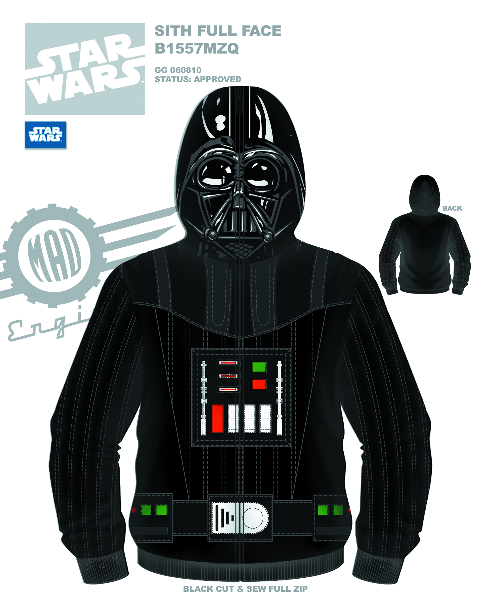 SW SITH FULL FACE VADER COSTUME HOODIE SM