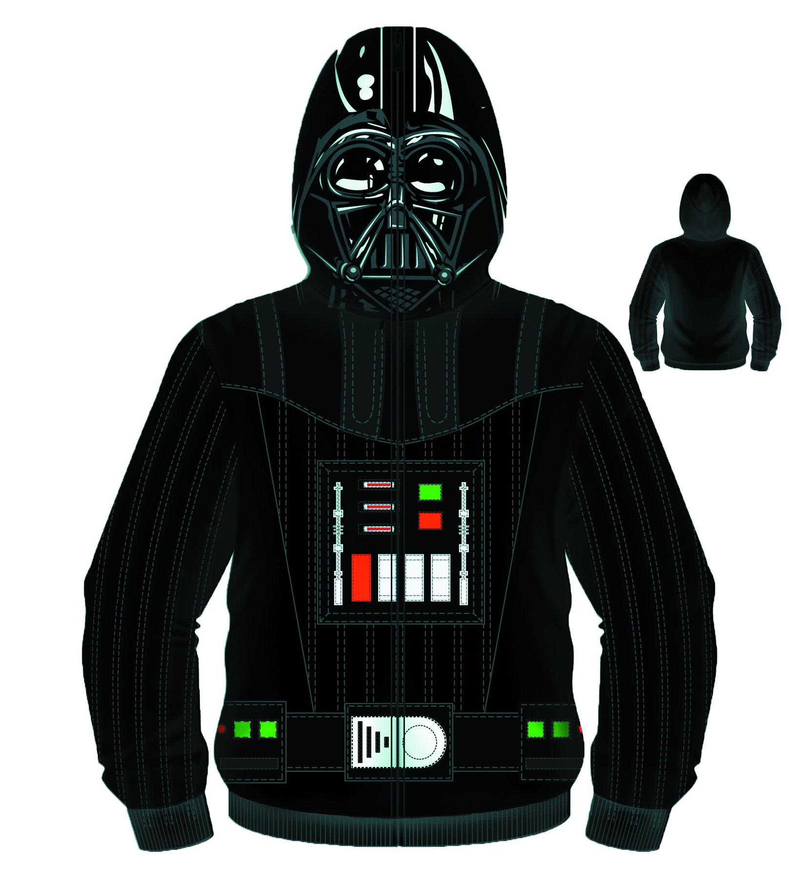 SW SITH FULL FACE VADER COSTUME HOODIE LG