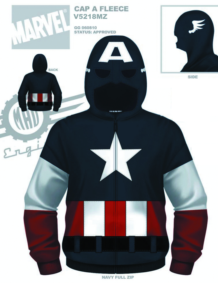CAPTAIN AMERICA CAP A FLEECE ZIP-UP HOODIE SM