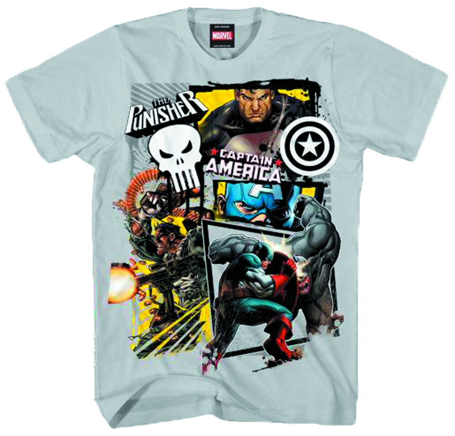 CAP & PUNISHER AMERICAN PUN SILVER T/S MED