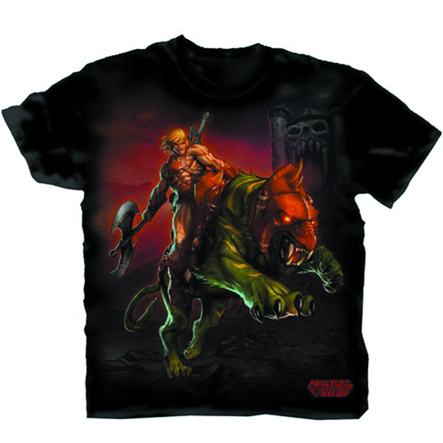 MOTU HE-MAN ON BATTLECAT BLK T/S XXL
