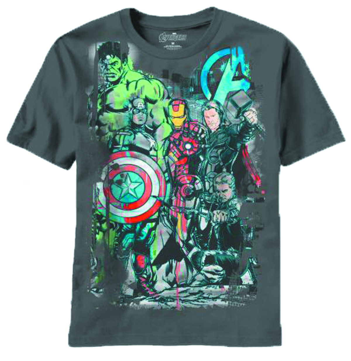 AVENGERS THEE TEAM CHARCOAL T/S LG