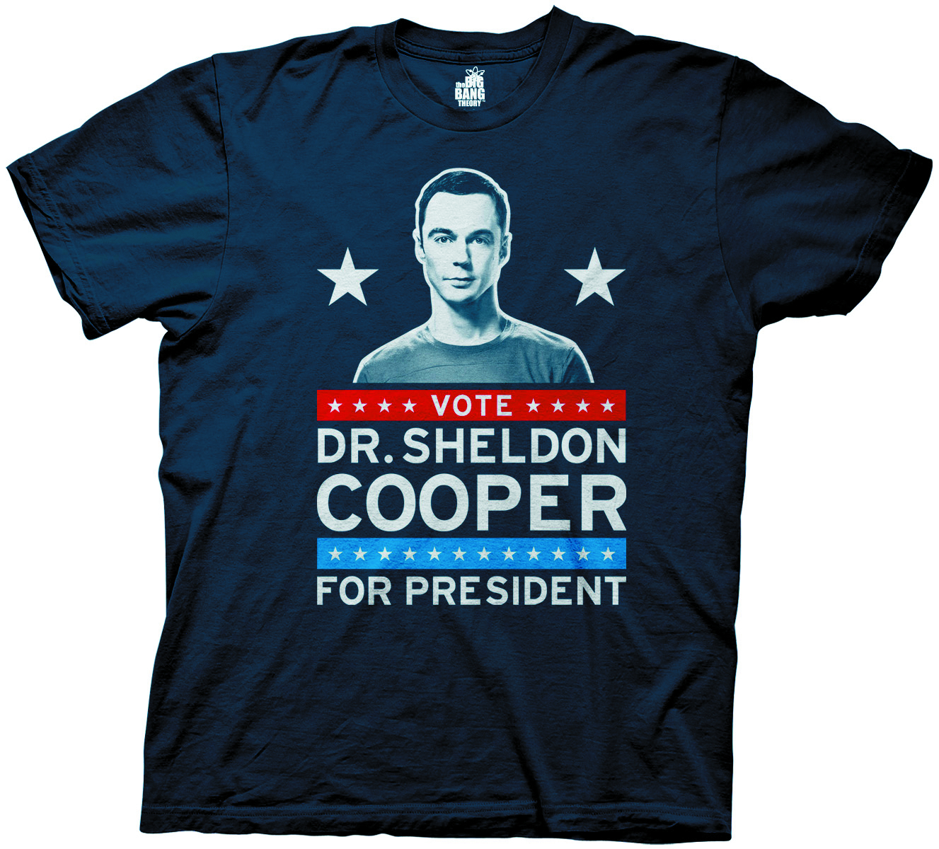 BIG BANG THEORY SHELDON FOR PRESIDENT NAVY T/S XL