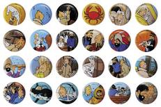 TINTIN 96PC BUTTON ASST