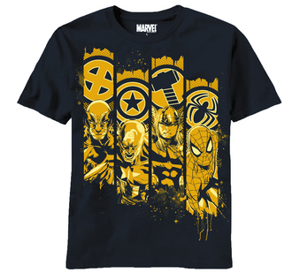 MARVEL HEROES PILLARS PX NAVY T/S XL