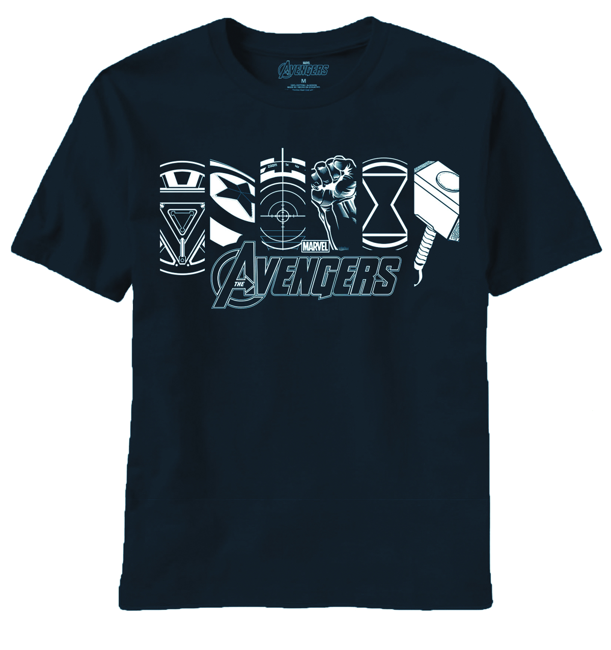 AVENGERS MOVIE LIT UP ICONS NAVY T/S LG