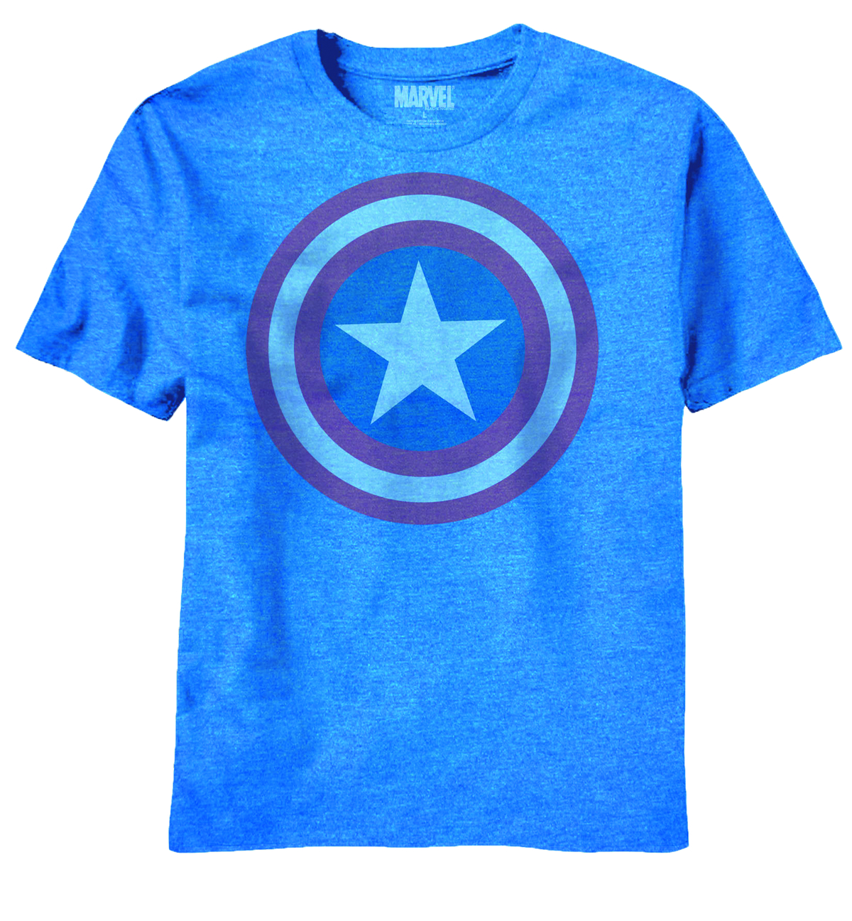CAPTAIN AMERICA DIM SHIELD BLUE HEATHER T/S LG