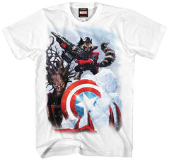 ROCKET RACCOON GUARDING ICE WHT PX T/S XL