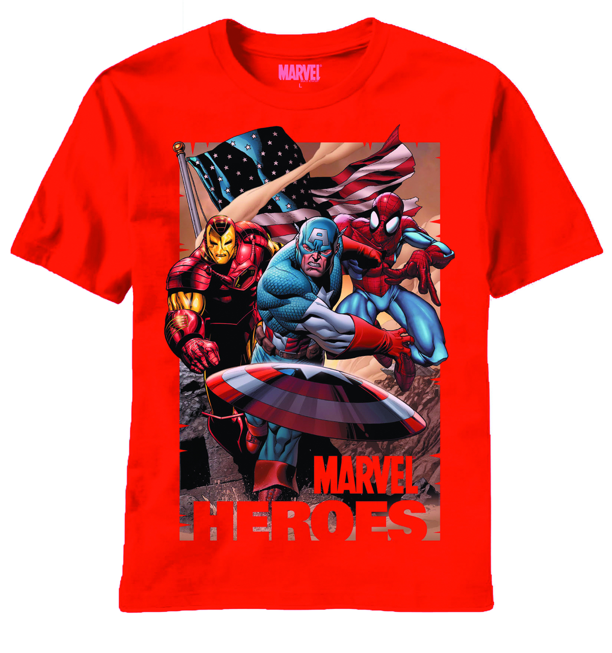 MARVEL HEROES TRES AMERICANOS RED T/S LG