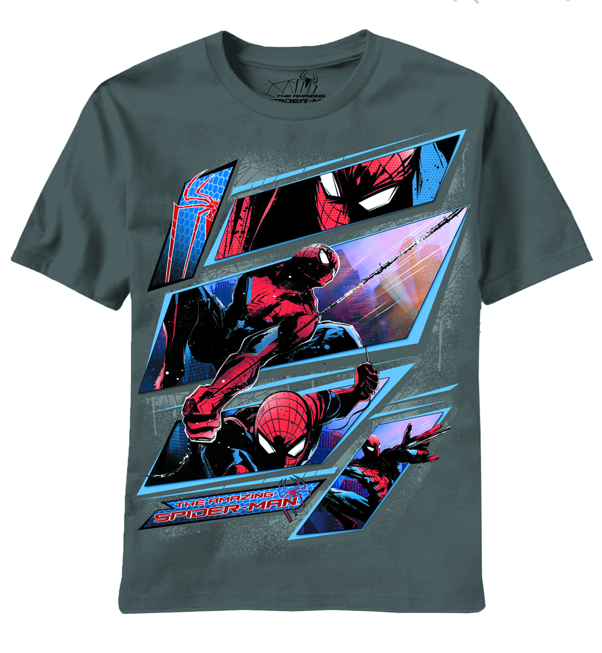 AMAZING SPIDER-MAN PANEL BREAK GREY T/S LG