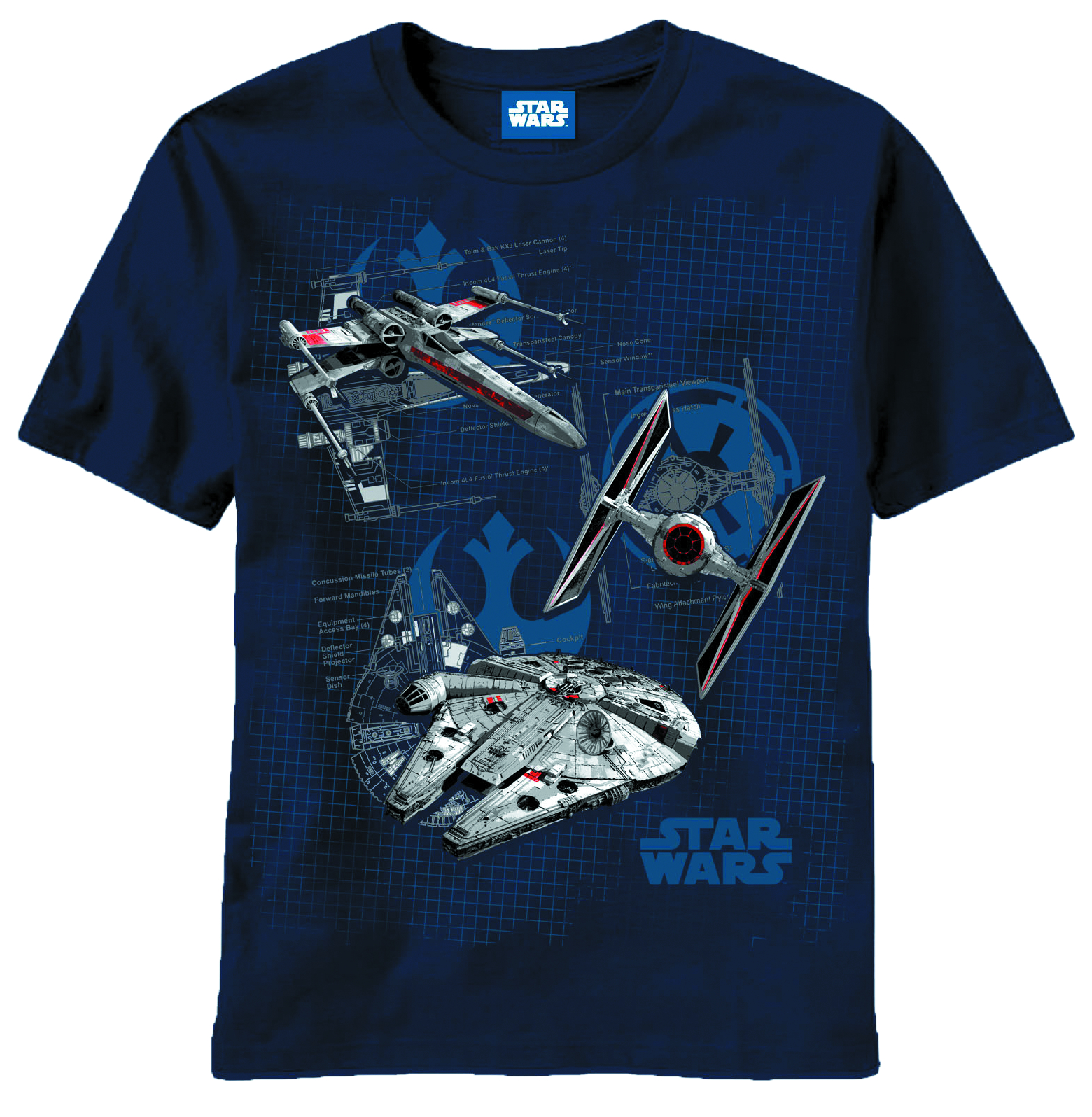 STAR WARS SHIPS DIAGRAMS NAVY T/S XXL