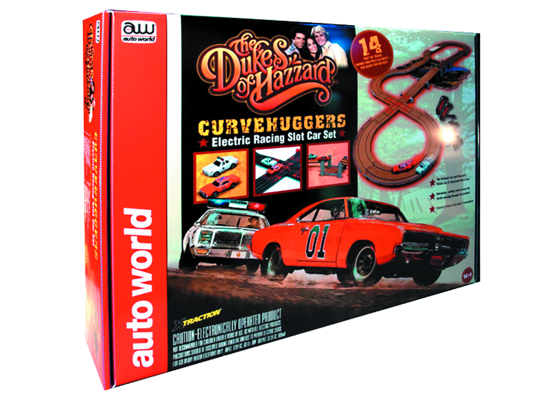 AUTO WORLD DUKES OF HAZZARD CURVEHUGGERS SLOT CAR SET