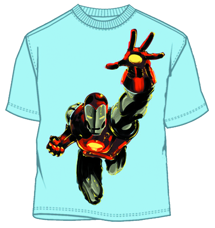 IRON MAN LIKE A HAWK LIGHT BLUE T/S LG