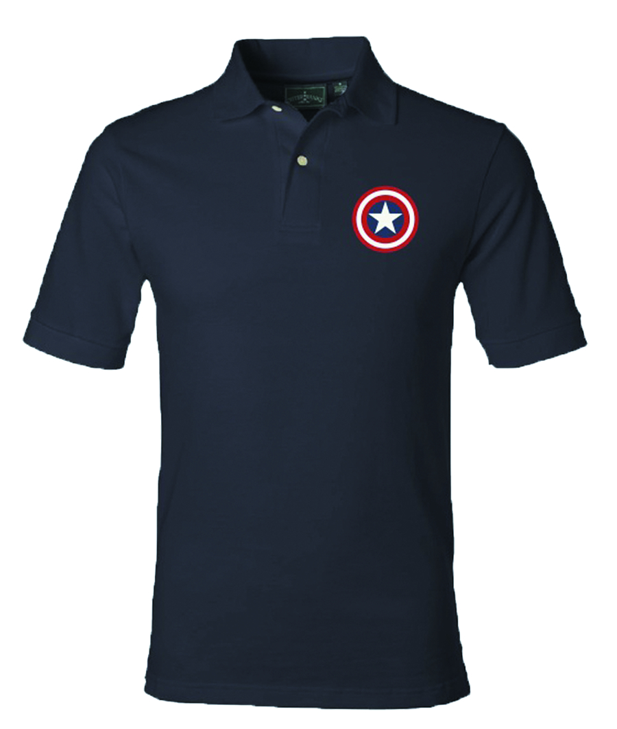 CAPTAIN AMERICA SHIELD NAVY POLO MED