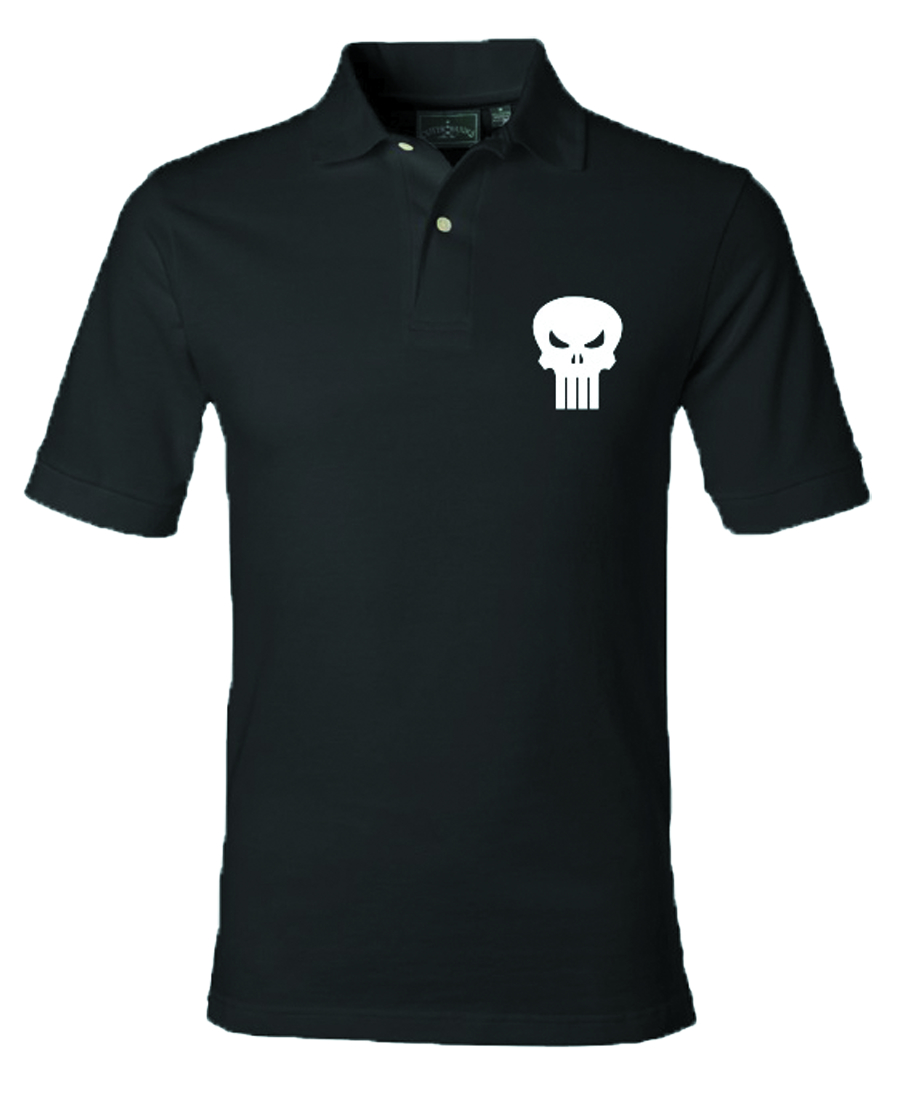 PUNISHER SKULL BLK POLO LG