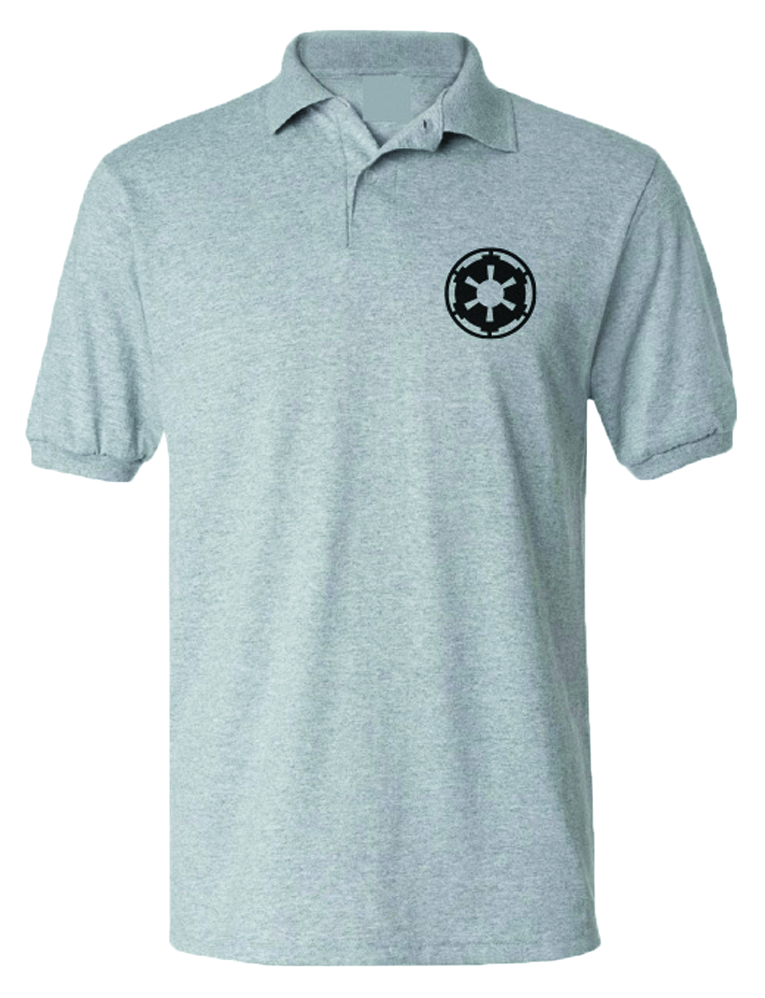 STAR WARS IMPERIAL SYMBOL GREY POLO MED