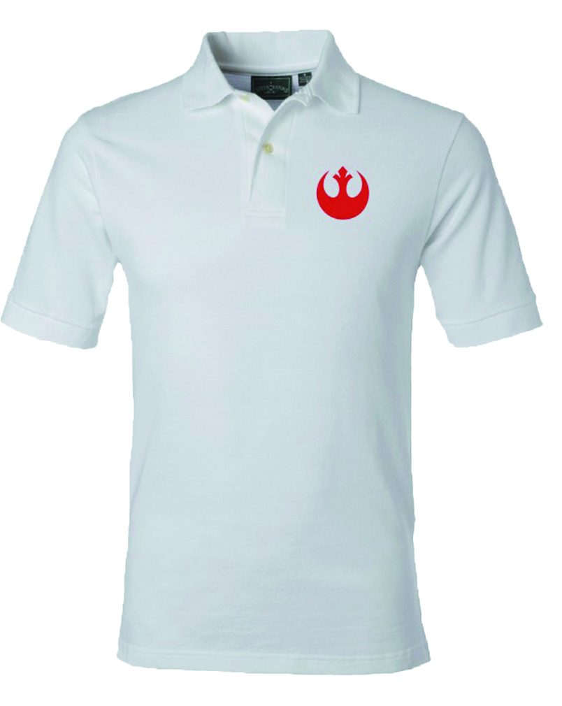 STAR WARS REBEL SYMBOL WHT POLO MED