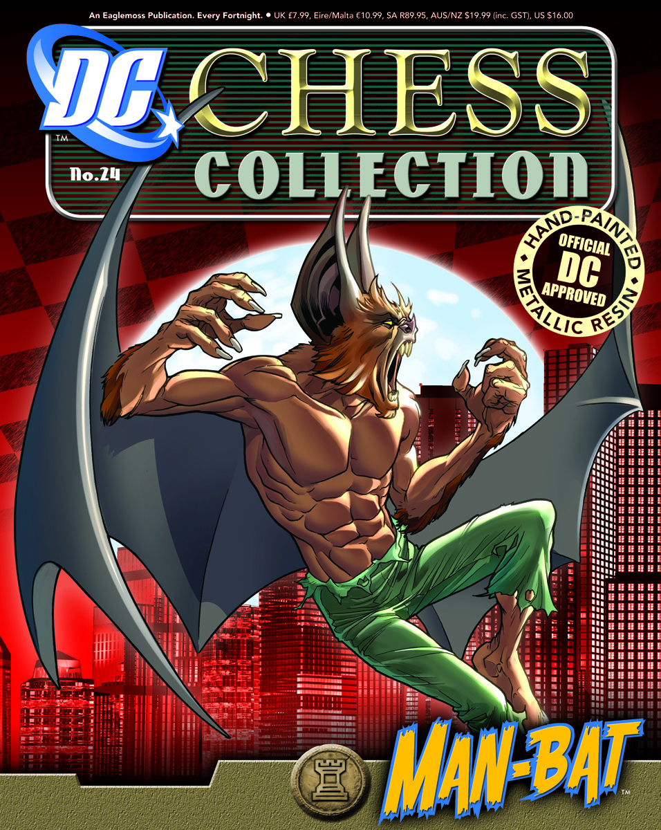 DC SUPERHERO CHESS FIG COLL MAG #24 MAN BAT BLACK ROOK