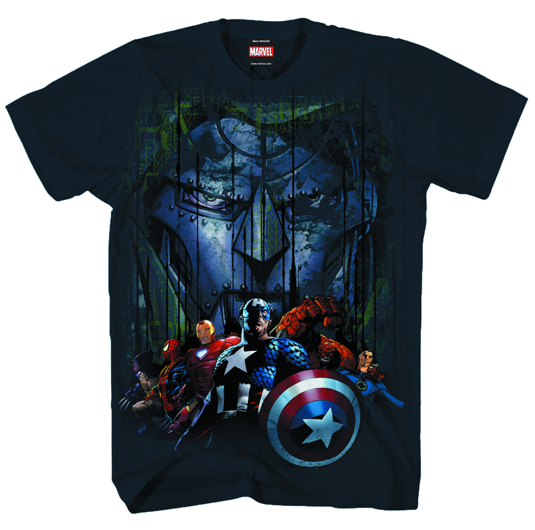 MARVEL HEROES UBER DOOM NAVY T/S XL