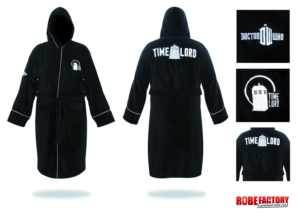 DOCTOR WHO TIME LORD BLACK BATHROBE