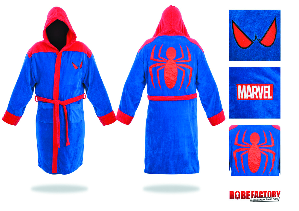 SPIDER-MAN RED & BLUE HOODED COTTON BATHROBE