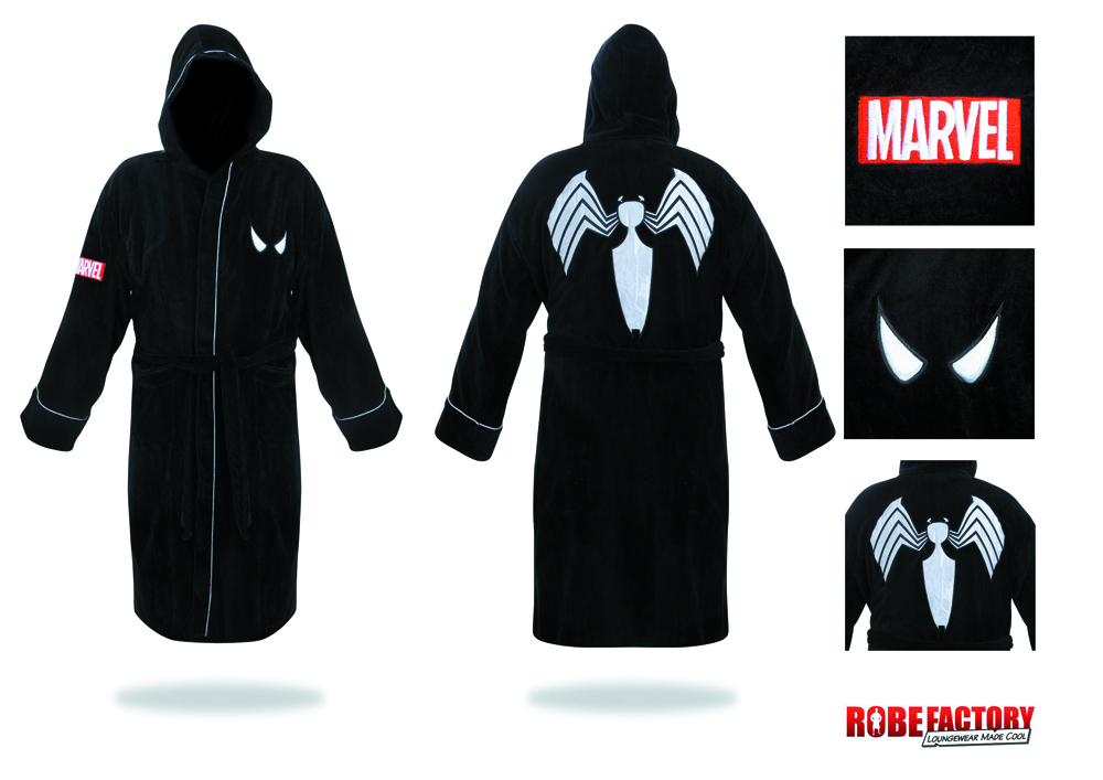 SPIDER-MAN BLACK HOODED COTTON BATHROBE
