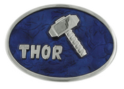 THOR HAMMER SILVER/BLUE BELT BUCKLE