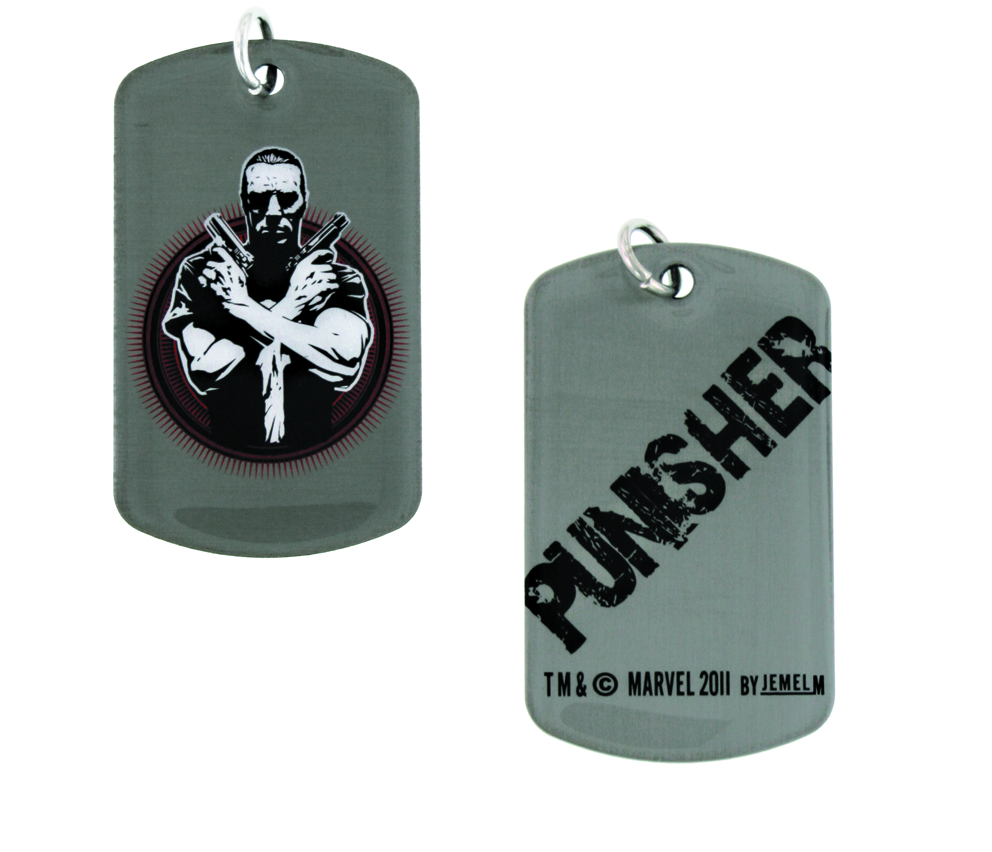 PUNISHER CROSSED GUNS DOG TAG