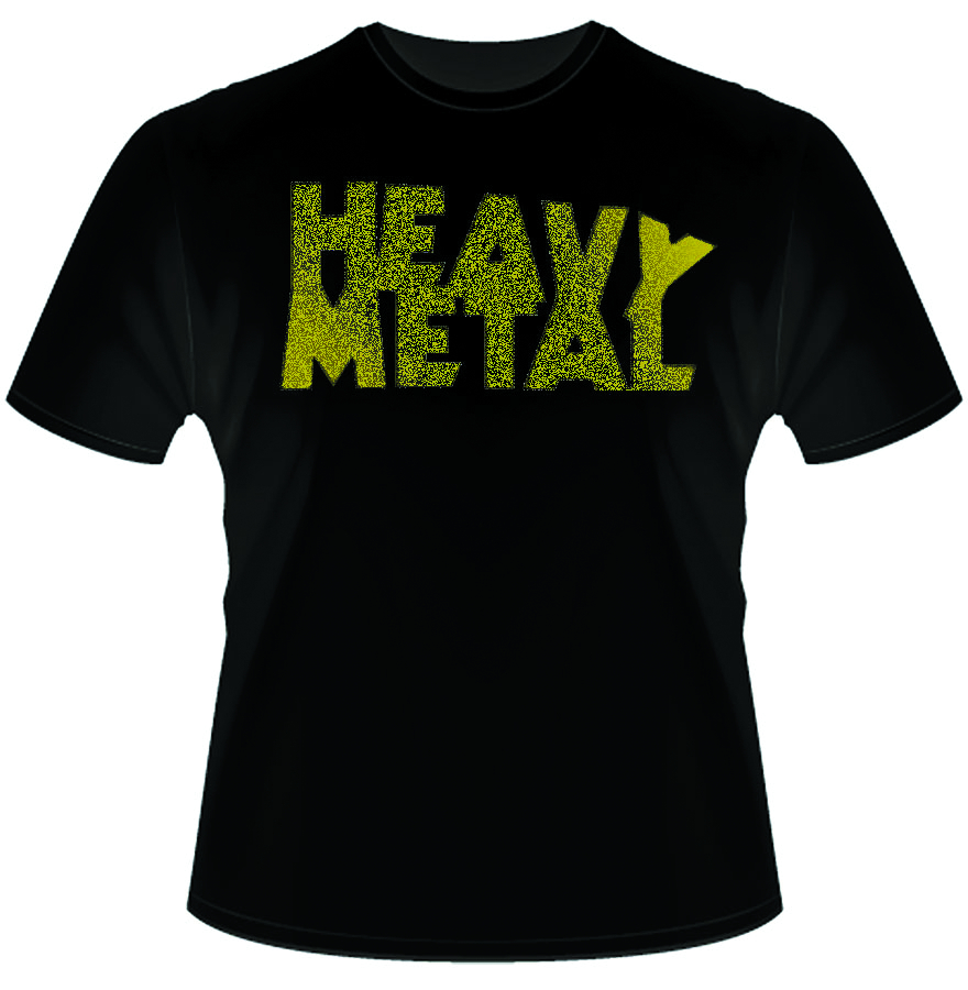 HEAVY METAL YELLOW DISTRESSED LOGO T/S XXL
